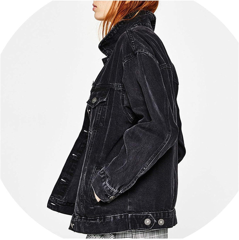 AllAboutUs Women Oversized Boyfriend Denim Jackets Solid Spring Streetwear Solid Jeans Jackets
