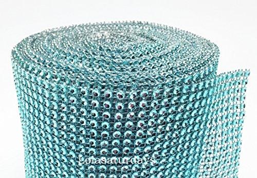 "LolaSaturdays 4.5""x 30FT Diamond Rhinestone Ribbon Wrap Roll- Cake and party decoration (Diamond, Turquoise)"