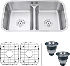Ruvati 32-inch Low-Divide 50/50 Double Bowl Undermount 16 Gauge Stainless Steel Kitchen Sink – RVM4350