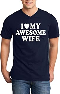 Shop4Ever I Love My Awesome Wife Men's V-Neck T-Shirt Couples Shirts