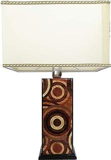 """Lámpara de mesa de madera con incrustaciones de diseño""""Círculos naturales"""""""