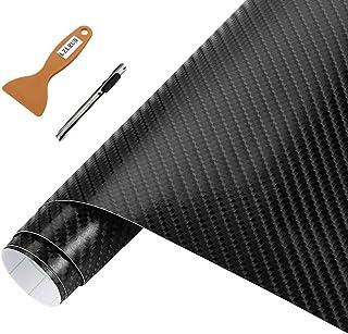 NewL - Rollo de vinilo de fibra de carbono 3D, apto para uso en automóviles, cuchillo de 30 cm x 150 cm + herramienta de mano