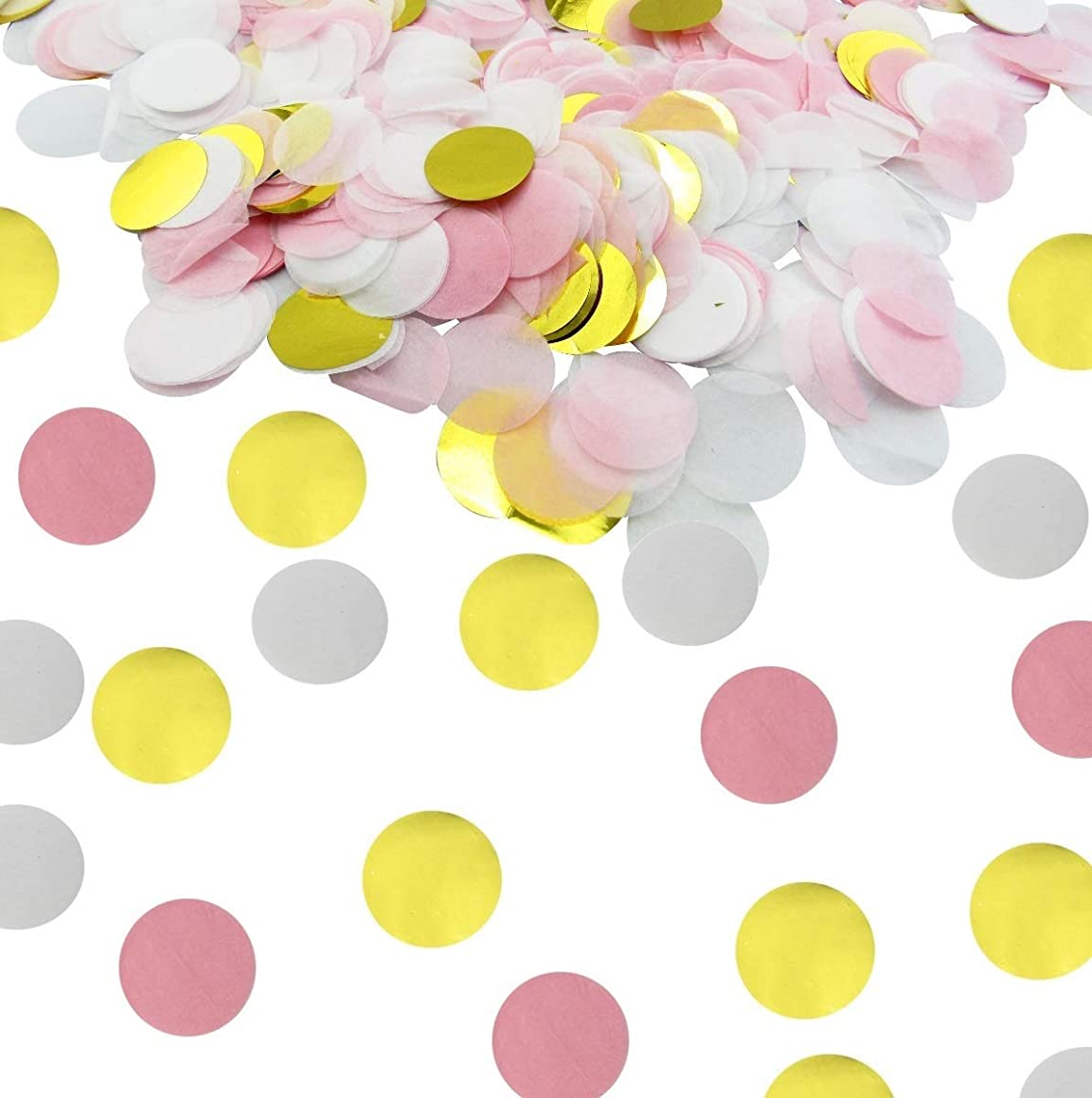 JPACO Circle Confetti - (10,000 Pieces - Pink, White, Gold) 100 Grams – 1 inch Round Confetti for Wedding, Gender Reveal, Baby & Bridal Shower, Event & Birthday Party!