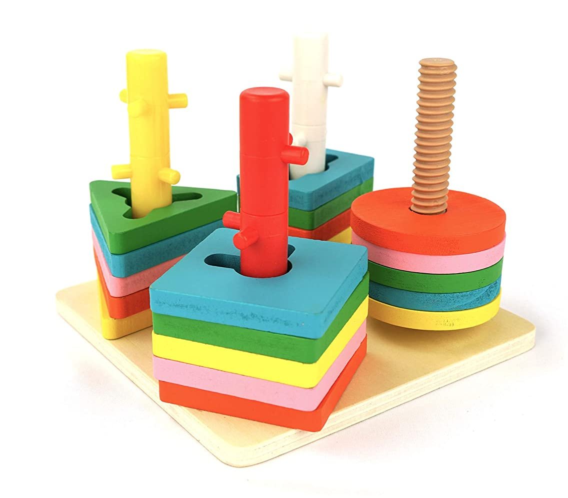 Genius Art Wooden Shape Puzzle for Toddlers - Stacking Shape Sorting Toys