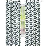Cortinas opacas, líneas verticales curvadas, formas elípticas, patrón de red de pesca, ancho 52 x largo 63, cortinas con ojales para tratamiento de ventanas, color amarillo pálido, azul marino