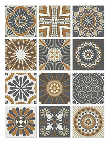 Panorama Azulejos Adhesivos Cocina Baño Pack de 72 Baldosas de 10x10cm Hidráulico Naranja - Vinilos Cocina Azulejos - Revestimiento de Paredes - Cenefas Azulejos Adhesivas