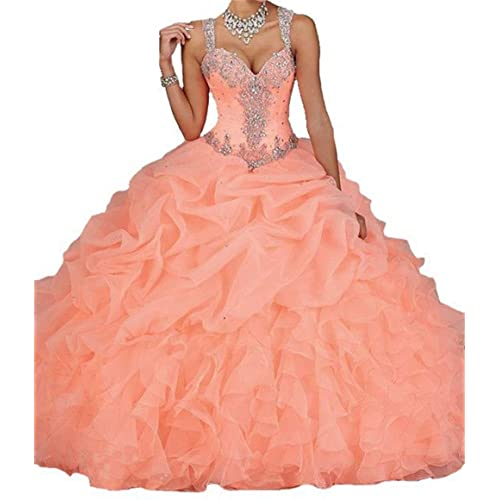 Dydsz Quinceanera Dresses Long Prom Party Dress for Women Juniors Beaded Ball Gown D18