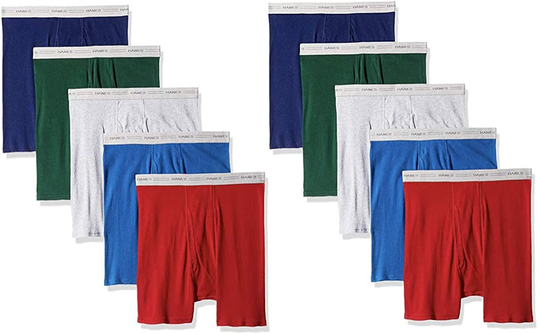Hanes Boys ComfortSoft Waistband Boxer Briefs 10-Pack Assorted//Colors May Vary