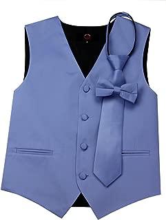 Brand Q Boy's Tuxedo Vest, Zipper Tie & Bow-Tie Set in Cornflower