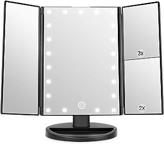 Miroir de Maquillage, WEILY 1x / 2X / 3X Miroir de Maquillage à Trois Volets avec 21 lumières LED et Miroir réglable à écr...