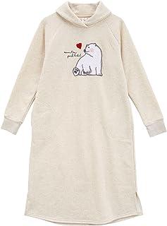(ナルエー)narue パジャマ マイクロ 裏毛 しろくま ルームウェア カシュクールネック ドレス
