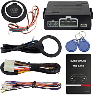EASYGUARD EC110 RFID car Alarm kit with Push Start Stop Button with Remote Engine Start for Automatic Cars Optional DC12V
