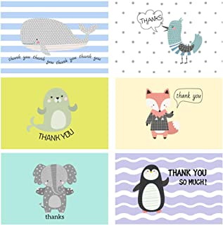 48 Count Cartoon Cute Thank You Cards Birthday Card Bulk for Baby Shower Kids Animals Notes Greeting Cards with Envelopes 6x4 Card Blank Inside All Occasions Graduation Holiday