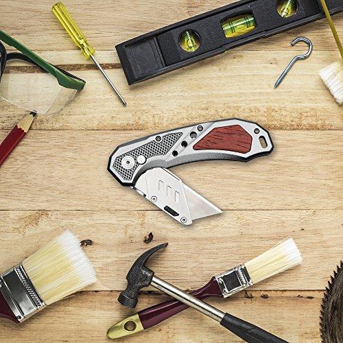 FC Folding Heavy Duty Utility Knife - Pocket Box Cutter with Holster, Quick Change Blades, Razor Sharp, Lockback Design, Lightweight Aluminum Body & Wood Trim