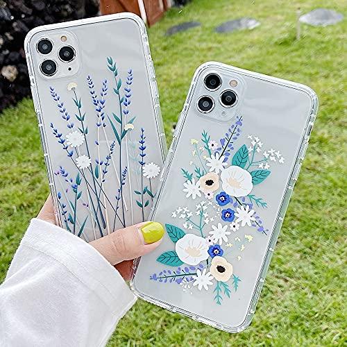 Aplicar a para Samsung S21 S9 Plus 5g dibujos animados flor transparente silicona caso para funda samsung galaxy s21 ultra s20 fe s10 lite capa feminino