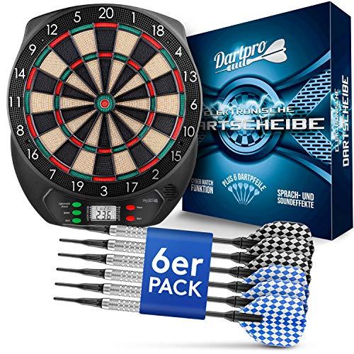 DartPro Dartscheibe elektronisch - Dartboard mit 6 Darts [kabellos nutzbar] - Innovativer Dartautomat mit 65 Varianten - Dart für 1 bis 8 Spieler