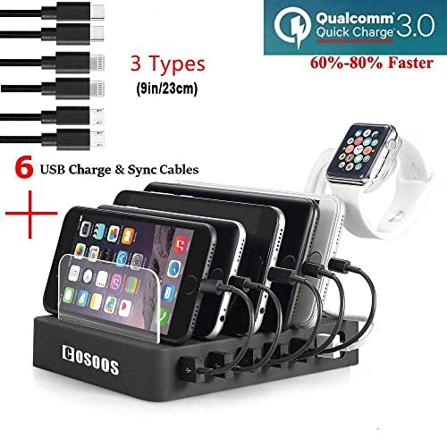 COSOOS Charging Station with Quick Charge QC 3.0,6 USB Charger Cables(3 Types