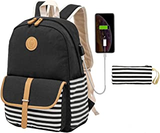 Kuston School Backpacks for Women Teen Girls with USB Charging Port Lightweight Canvas Book Bag