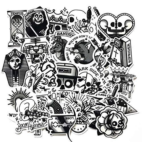 YUHANG Black And White Tattoo Suitcase Sticker Trolley Case Guitar Skateboard Dark Black Waterproof Decal 29Pcs