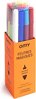 Omy Signature Erasable and Color Changing Felt Pens - Magic - (Box of 14 Pens and 2 Erasers)