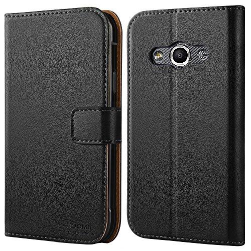 HOOMIL Galaxy Xcover 3 Hülle, Handyhülle Samsung Galaxy Xcover 3 Tasche Leder Flip Case Brieftasche Etui Schutzhülle für Samsung Galaxy Xcover 3 Cover - Schwarz (H3054)