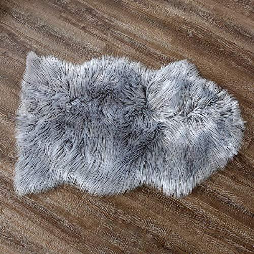 YDFYX Faux Peau de Mouton en Laine Tapis,Cozy Sensation comme véritable Laine Tapis en Fourrure synthétique, Man-Made Luxe Laine Tapis de Canapé Coussin (Gris, 60 x 90cm)