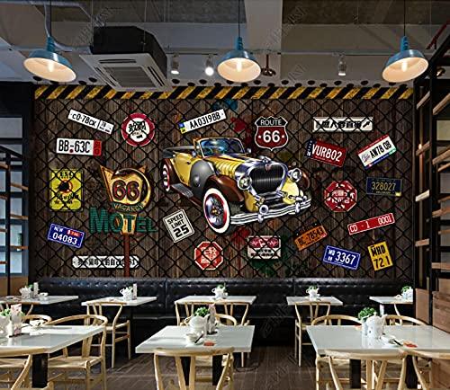 Decoracion para la pared Mural 3d del restaurante de la barra de la matrícula del coche del alambre de púas Fotomural -450cmx300cm