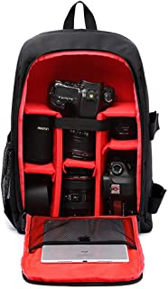 Hamkaw Camera Backpack Waterproof Shockproof Large Capacity Camera Case with Laptop Compartment and Rain Cover Compatible with Lenses SLR DSLR Canon Nikon Sony Pentax Red