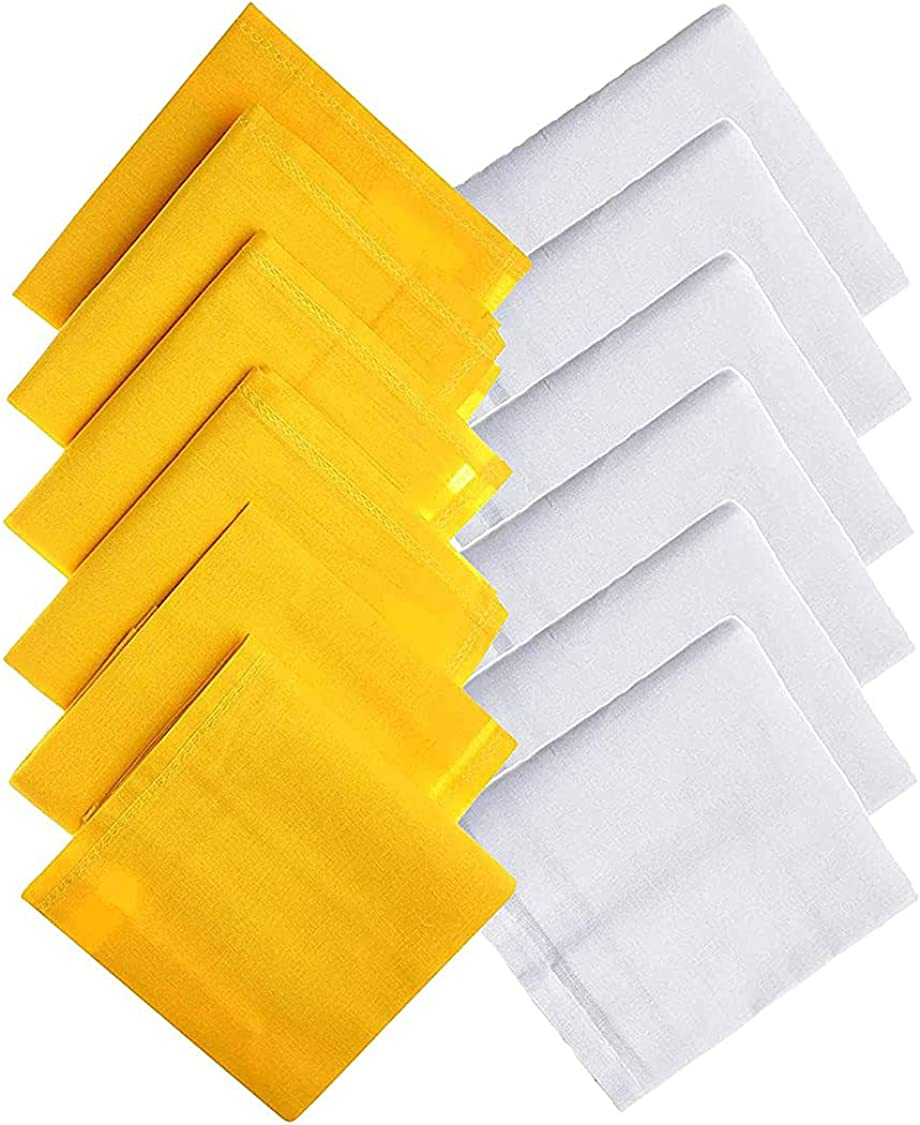 Kalagiri Cotton Premium Collection Yellow And White Handkerchiefs Hanky Set For Men - Pack of 12 Pcs