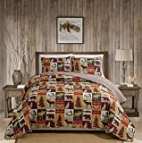 Rugs 4 Less Rustic Cabin Lodge Quilt Stitched Bedspread Coverlet Bedding Set with Patchwork of Wildlife Moose Grizzly Bears Deer Buck Antlers and Tribal Patterns - Western 3 (Full/Queen)