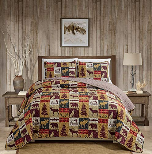 Rugs 4 Less Rustic Cabin Lodge Quilt Stitched Bedspread Coverlet Bedding Set with Patchwork of Wildlife Moose Grizzly Bears Deer Buck Antlers and Southwest Tribal Patterns - Western 3 (King/Cal-King)