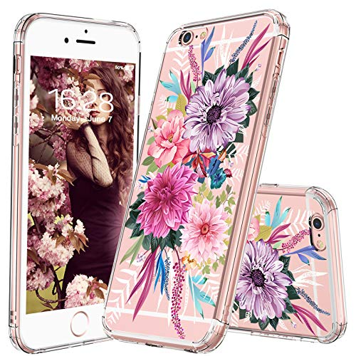 MOSNOVO iPhone 6 Case, iPhone 6 Slim Case, Floral Botany Flower Clear Design Transparent Plastic Hard Case with Soft TPU Bumper Gel Protective Back Phone Case Cover for Apple iPhone 6/6s (4.7 Inch)