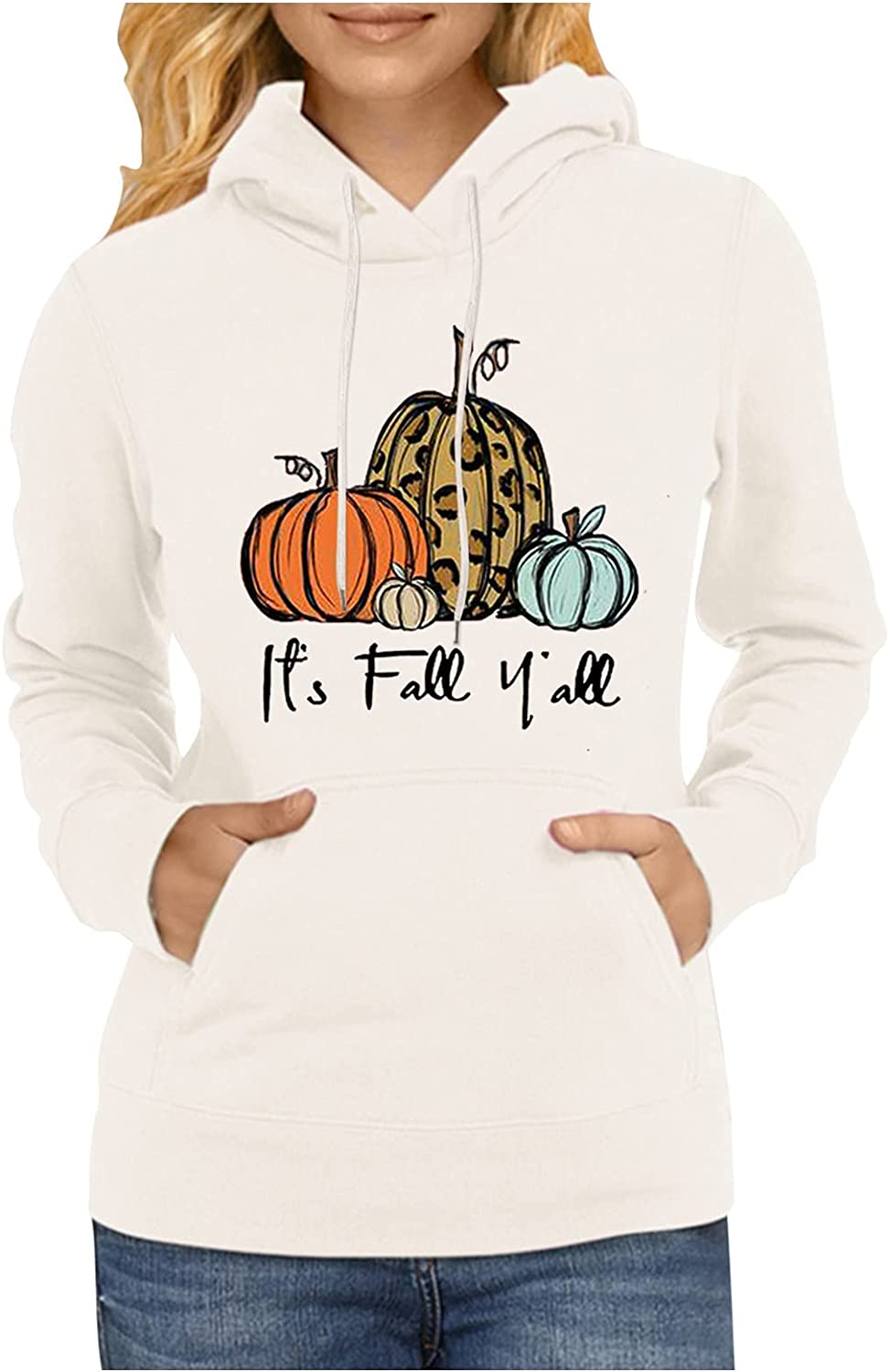Its Fall Yall T Shirt Women Funny Pumpkin Graphic Halloween Hoodies Long Sleeve Pullover Thanksgiving Tops with Pockets