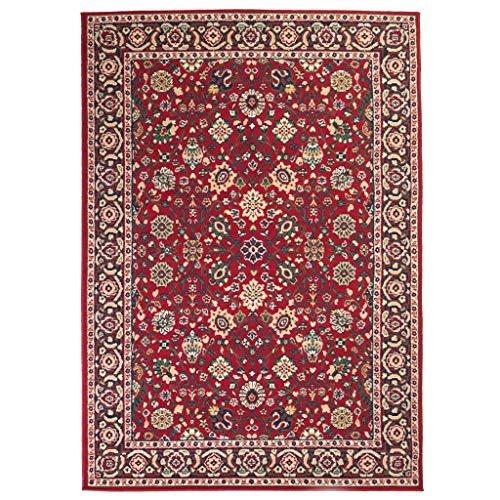Festnight Alfombra Oriental de Estampado con Diseño Clásico Persa Rojo y Beige 140x200cm