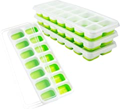 OMorc Ice Cube Trays 4 Pack, Easy-Release Silicone and Flexible 14-Ice Trays with Spill-Resistant Removable Lid, LFGB Certified and BPA Free, Stackable Durable and Dishwasher Safe