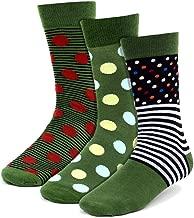 Men's Premium Green 3 Pairs of Fun Polka Dots & Stripes Novelty Crew Dress Socks