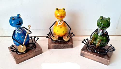 Shreya Creation Set of 3 Frogs Playing Musical Instruments Gift for House Warming Function Decorative Items for Living Room I Car Dashboard Decor