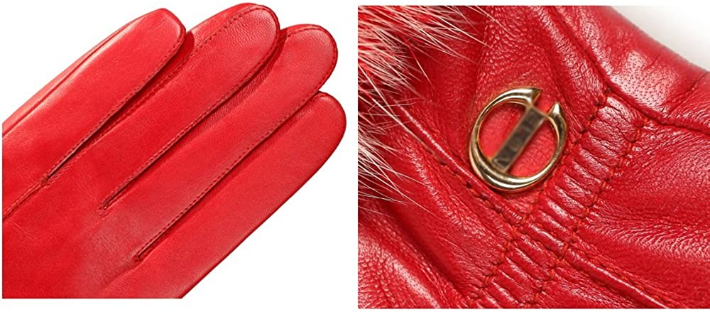 Fly Ms. Winter Sheepskin Fleece Lining Gloves, Cuff Fluff 3 Color Options (Color : Red, Size : S)