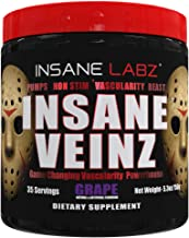 Insane Labz Insane Veinz Non Stimulant NO Enhancing Powder, Nitric Oxide Booster, Loaded with Agmatine Sulfate and Betaine Anhydrous, Increase Vascularity, 35 Srvgs, Grape
