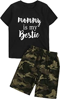 SOLY HUX Boy's 2 Piece Outfits Letter Print Short Sleeve Tee Top and Shorts Set