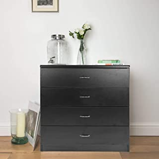 MTFY 4 Drawers Chest, Black Wooden Dresser Drawer Storage, Easy to Assemble, Chest of Drawers for The Bedroom, Living Room, Kid's Room