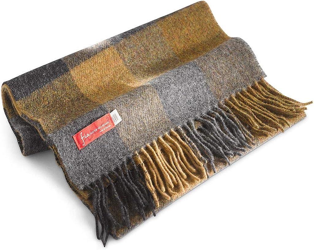 FIA Soft and Warm Irish Wool Plaid Scarf for Men, 12