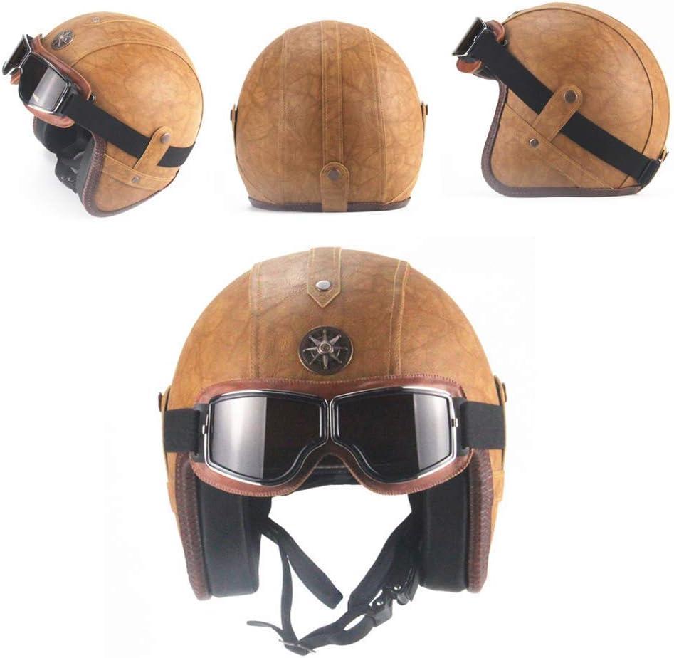 DBSCD Retro Motorcycle Jet-Helmet,Handmade Leather Crash Motocross Helmet with Vintage Goggles,Open-Face 3//4 Motorbike Scooter Helmet,Classic Brown