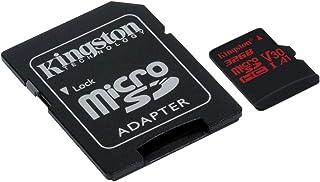 Kingston MicroSD Canvas React SDCR 32GB klasse 10 geheugenkaart met adapter, ideaal voor serieopnamen en 4K video