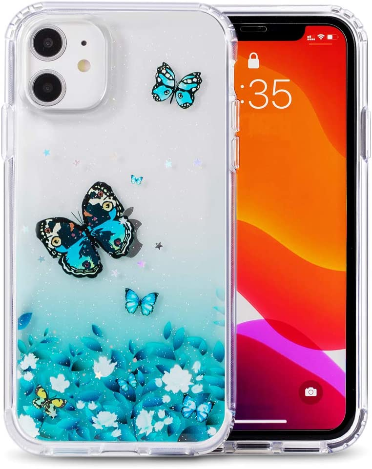 iPhone 11pro Case Glitter Butterfly Flower for Woman Cellphone Case (Big Butterfly-Green Iphone11pro(5.8