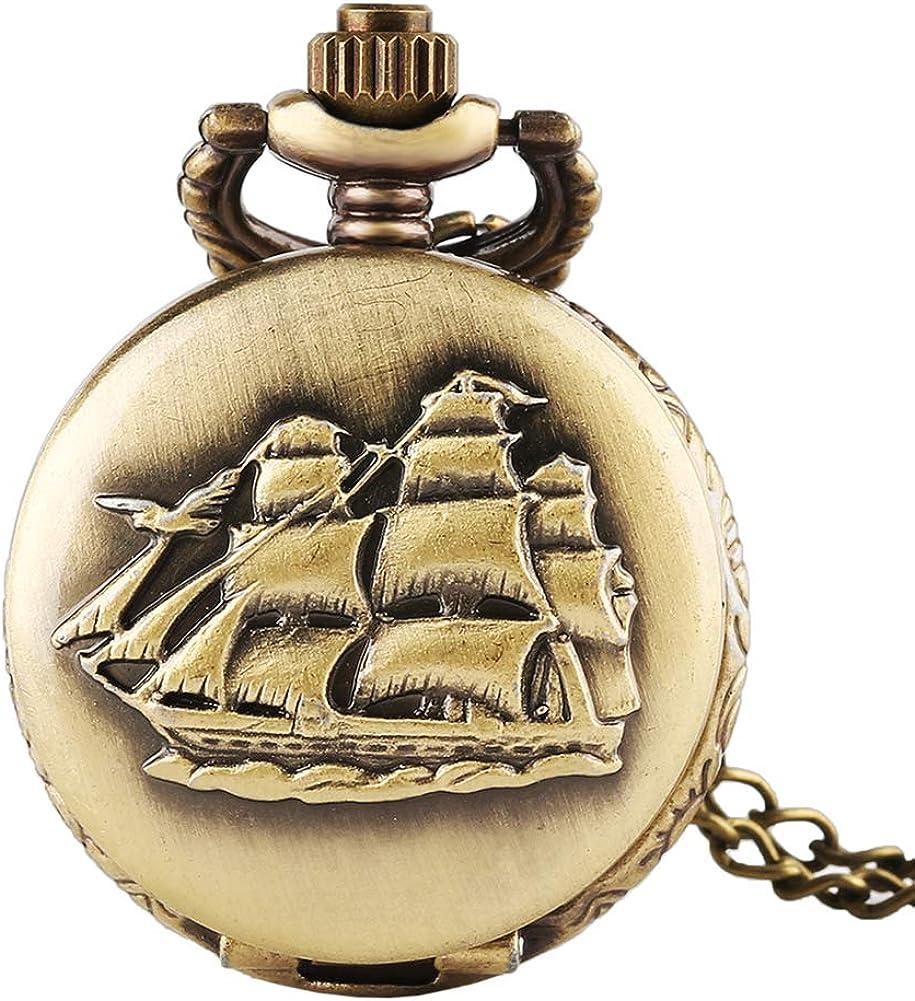 Men's Pocket Watch Christmas Gifts Max Popular popular 88% OFF Sailboat Bronze Quart Dainty