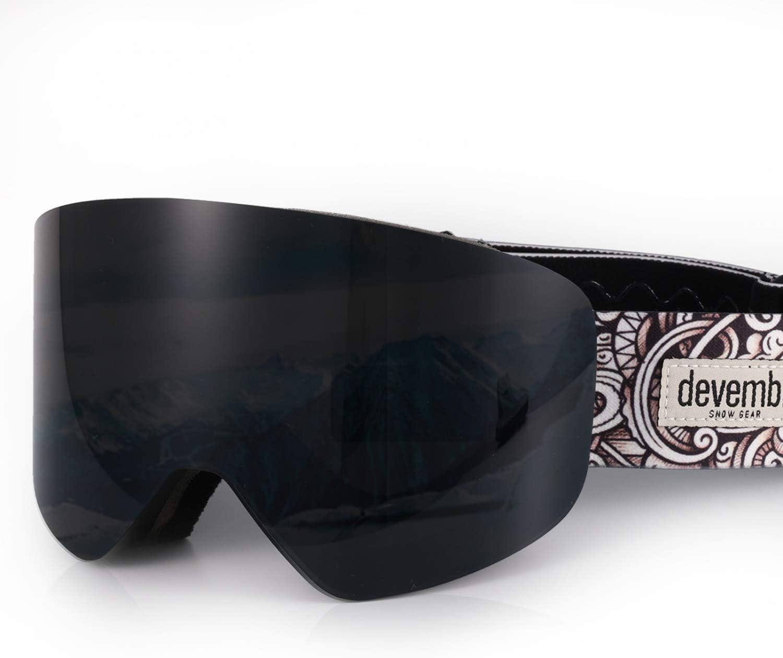 devembr OTG Gafas de Esquí Pro, Gafas para Snowboard Cilíndrico Sin Marco Anti-Empañamiento, Lente Intercambiable con Imán, Protección UV, Carcasa Dura Incluida (5 Colores de Lente Disponibles)
