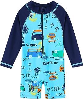 HUAANIUE Baby/Toddler Boy Swimsuit Rashguard Swimwear Long Sleeve One-Piece