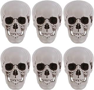 Amosfun 6PCS Halloween Skeletons Plastic Realistic Human Skull Head Bone Model Ghost House Props Halloween Party Supplies