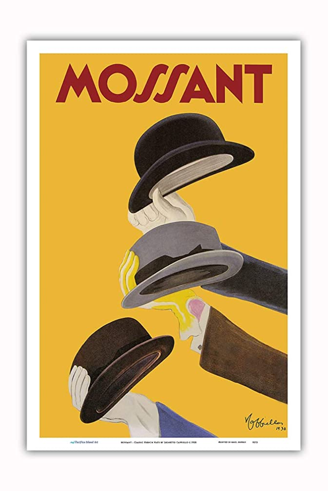 Pacifica Island Art - Mossant - Classic French Hats - Vintage Advertising Poster by Leonetto Cappiello c.1938 - Master Art Print - 12in x 18in